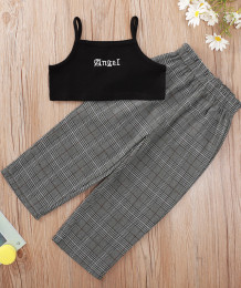 Kids Girl Summer Black Strap Weste und Plaid Pants Set