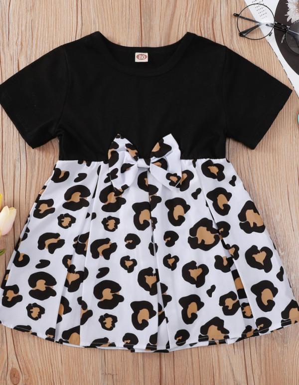 Baby Mädchen Sommer Kuh Druck Krawatte Skater Kleid