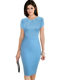 Sommer Solid Color O-Ausschnitt Plissee Office Midi Kleid