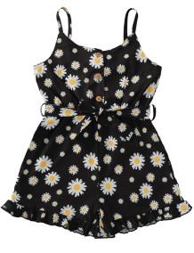 Barboteuse d'été à volants et bretelles florales pour bébé fille