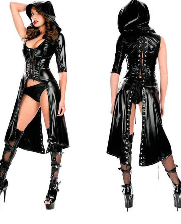Sexy schwarzes Leder Schnür-High-Low Hoody Club Kleid