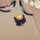 Conjunto de chaleco y pantalones cortos con estampado de verano para bebé niño