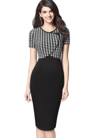 Sommerdruck O-Neck Wrapped Upper Office Midi-Kleid
