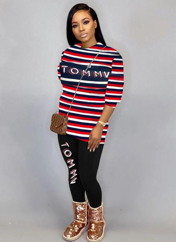 Conjunto de camisa y pantalón de manga larga con estampado de letras y rayas