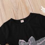 Baby Mädchen Sommer Plaid Print Krawatte Skater Kleid