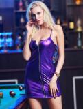 Vestido mini club sexy con tirantes metálicos y cremallera