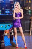 Sexy Mini Club Kleid mit Reißverschluss und Metallriemen