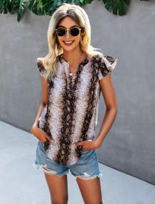Summer Snake Skin Print V-Neck Shirt with Ruffle Sleeves