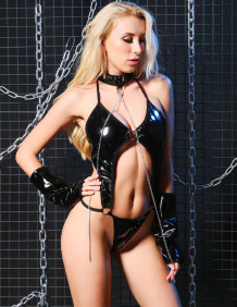 Sexy Black Leather Teddy Lingerie with Gloves