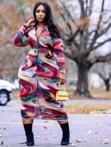 Sexy Long Sleeve Front-Zipped Colorful Midi Dress