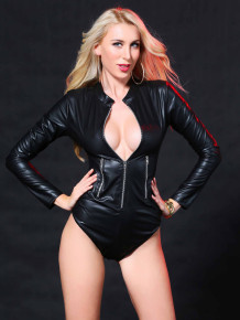 Sexy Black Leather Long Sleeve Zipped Teddy Lingerie
