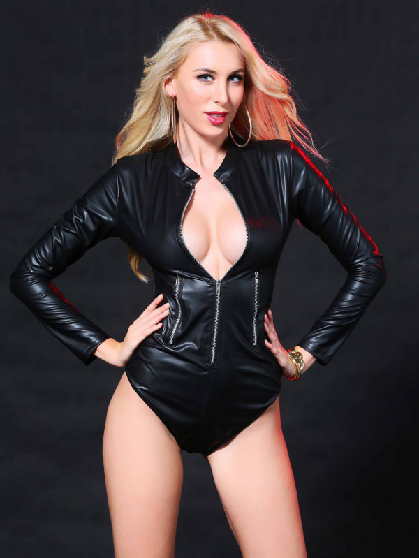 Sexy schwarze Leder Langarm Teddy Dessous mit Reißverschluss