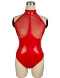 Sexy Red Mesh Patch Ärmellose Leder Teddy Dessous
