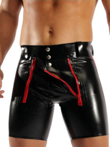 Pantalones cortos de lencería de hombre de cuero negro sexy