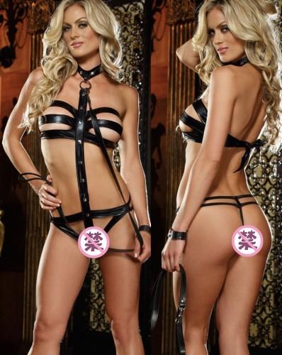 Ensemble de lingerie sexy en cuir noir avec licou