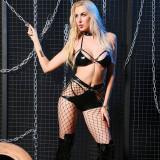 Sexy Black Leather Hollow Out BH und Slip Set mit Halsreif