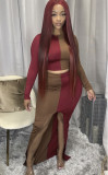 Sexy Contrast Long Sleeve Crop Top and Irregular Long Skirt Set