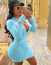 Spring Blue Long Sleeve Zipped Bodycon Dress