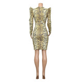 Sexy Tiger Print V-Neck Bodycon Dress with Full Sleeves
