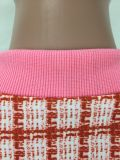 Conjunto casual de manga larga con cremallera a cuadros y minifalda