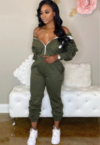 Solid Color Long Sleeve Crop Top and Pants Hoody Tracksuit