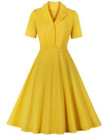 Kısa Kollu Retro Stil Sarı Balo Patenci Elbisesi