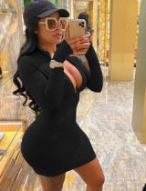 Lente zwarte bodycon-jurk met lange mouwen en rits