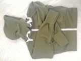 Einfarbiges Langarm-Crop-Top und Hosen-Hoody-Trainingsanzug