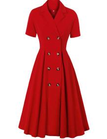 Kısa Kollu Retro Stil Kırmızı Balo Patenci Elbisesi