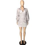 Casual mini-jurk met lange mouwen en geruite rits