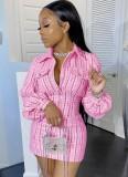 Casual Long Sleeve Plaid Zipper Mini Dress