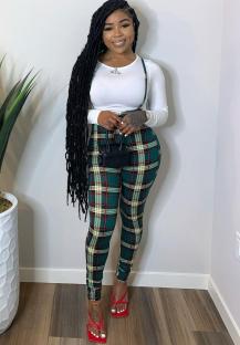 Sexy Fit Uzun Kollu Beyaz Gömlek ve Ekose Askı Pantolon Seti