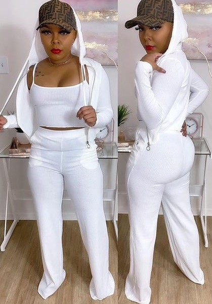 Casual White 3PC Long Sleeve Hoody Tracksuit