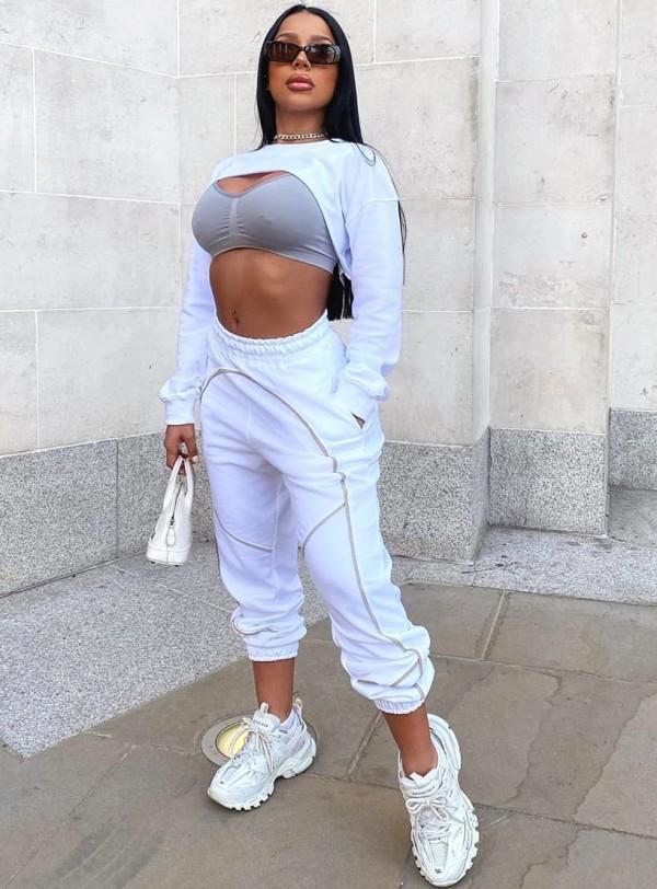 Conjunto de pantalón de chándal y top corto blanco de manga larga Street Style