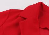 Vestido skater rojo estilo retro con manga corta