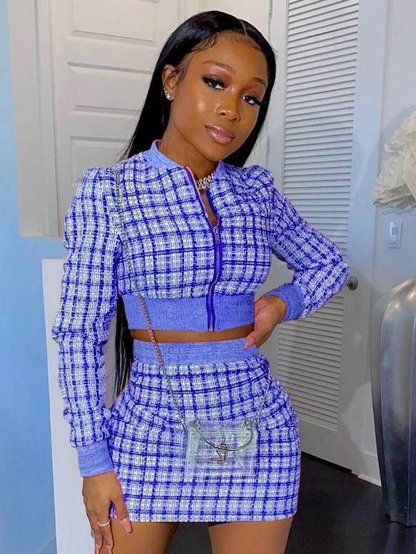 Casual Long Sleeve Plaid Zipper Crop Top and Mini Skirt Set