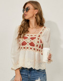 Spring Hollow Out Häkeln Langarm Boho Top