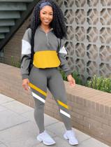 Casual Contrast Long Sleeve Hoody Sweatsuit