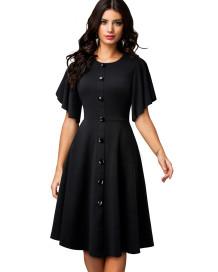 Summer Black Vintage Ballkleid mit weiten kurzen Ärmeln