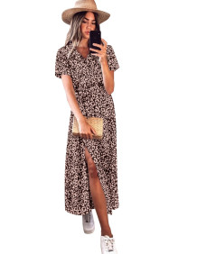 Summer Elegant Leopard Wrapped Long Dress with Short Sleeves