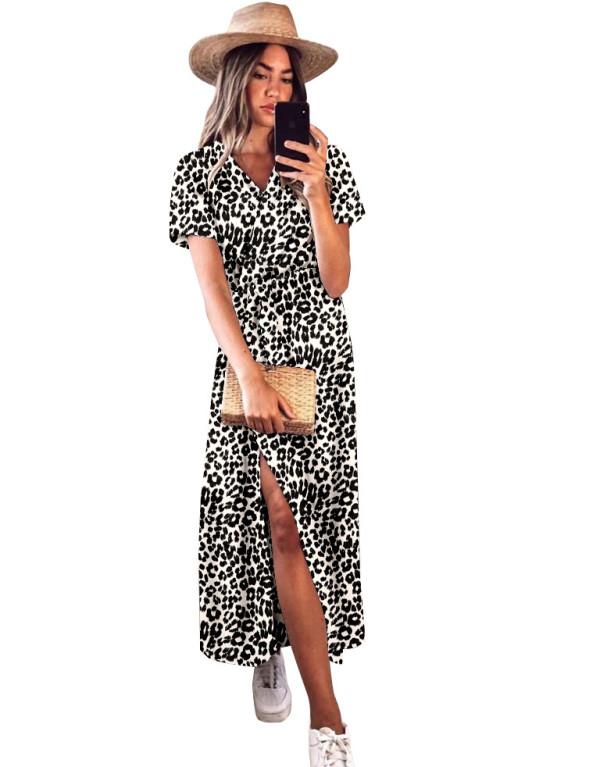 Sommer Elegantes, mit Leoparden umwickeltes langes Kleid mit kurzen Ärmeln