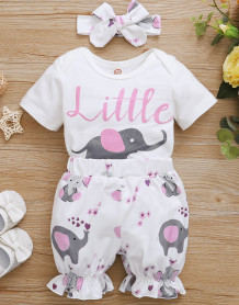Baby Girl Summer Animal Strampler und Shorts Set mit passendem Stirnband