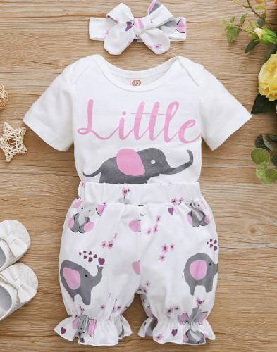 Baby Girl Summer Animal Pagliaccetti e pantaloncini con fascia abbinata