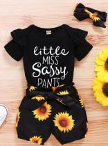 Baby Girl Summer Floral Strampler und Shorts Set mit passendem Stirnband