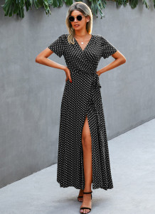 Summer Elegant Polka Wrapped Long Dress with Short Sleeves