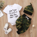 Set met rompertjes en broek met zomercamou voor babyjongens en bijpassende hoed