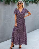 Летнее элегантное длинное платье с цветочным принтом и короткими рукавами с запахом