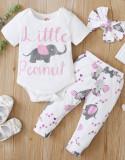 Baby Girl Summer Animal Strampler und Hosen Set mit passendem Stirnband