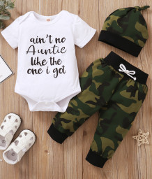 Baby Boy Summer Camou Rompers and Pants Set with Matching Hat