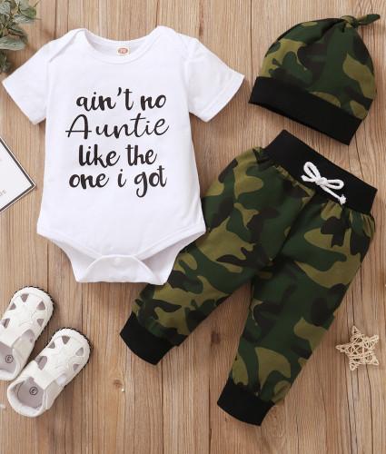 Erkek Bebek Yazlık Camou Tulum ve Eşleşen Şapkalı Pantolon Takım
